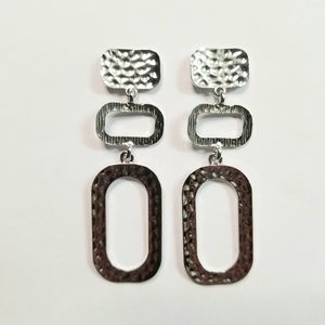 3 for $15 Silver Hammered Dangle Earrings